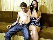 This lewd dilettante slut takes too thick knobs in each hole in this coarse dilettante sex party. The lustful girl agrees to a hard spit roasting with those 2 dudes. The drunken babe receives so wet she's like a fucking greased pig as the 2 frat men take turns stuffing her constricted twat.