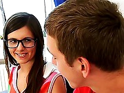 This four-eyed beauty doesn't know yet what does it mean the sex with her tutor. Maybe that babe didn't have sexual relationship with guys untill this day. Well - that babe has a chance- her home teacher is ready to give her a good lesson of fucking - that guy will learn her classical sex, anal sex and mouth-fucking! His sweet pupil will thank him in the future.
