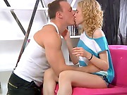 Licking Camila's pussy is pleasure and the chap makes her super wet in this video. Camila is wet in advance of long and to receive his schlong worthy and inflexible this babe starts blowing her fellow lustily. A skinny legal age teenager beaut like her loves a hard fucking in her tight snatch and they bang all positions and have a 69 in advance of more pleasure fucking continues. Camila reaches the majority rock hard orgasm in her life and this babe doesn't mind to feel it anew and again...