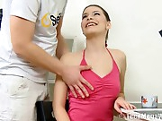 In pink leggings and a constricted halter top her body is irresistible and as his hand fondles her merry teen milk shakes a wave of pleasure passes through Zuzana, a gorgeous youthful brunette hair he eagerly eats out to arouse. Once moist the hottie sucks his cock and she can pretty soon be enjoyed on the table with legs spread and his cock pounding her hot cunt.
