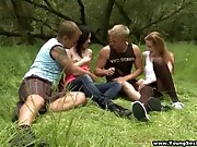 Two sexy and lascivious legal age teenager couples take a walk outdoors and as it turns out they don't even need a blanket to enjoy a wild and vehement outdoor four-way. They receive down and messy right on the grass fucking in each combination mother nature could ever imagine and two cute 18 y.o. girlfriends end up having multiple orgasms and sharing cumshots with great pleasure.