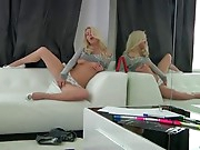Petite blond college angel receives distracted during a homework project and soon has a fake penis sliding in and out of her tight pink twat