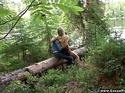 How did this blond teen hitchhiker end up all alone on a forest road waiting for someone to pick her up? Nobody knows for sure, but this babe does acquire a great ride on a total stranger's cock when he shamelessly seduces her in the woods, fingers her wet snatch and fucks her right on the ground. Doing it like a pair of lascivious animals with no ottoman or sheets makes her cum harder than ever before, especially when the guy just grabs her hair and copulates her from behind in doggie position.