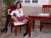 Legitimate  old schoolgirl Ava Taylor strips her tight small body completely nude and thumbs her sugary-sweet puss to  on the kitchen table