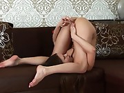 Hot Russian coed with mile-long legs and small perky titties shows off her  as she  her feet above her head and pummels her cum craving vag with a glass toy