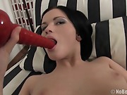 Oh my, what a doll. Do you see how darn pretty this one is? Dark hair, snow white skin, titties to suck on all night… And these  seem to be indeed horny for a excellent rock-hard insertion! The way she  on this dildo, oh my god. The hunk plays with that butt hole for a while, then gets all the  she has aching with his thick member. And now it's time to eat..!